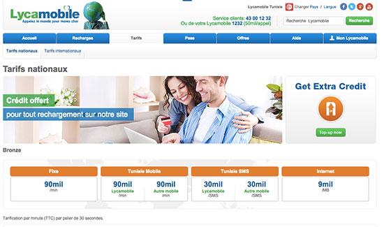 Capture d'écran du site Lycamobile.tn